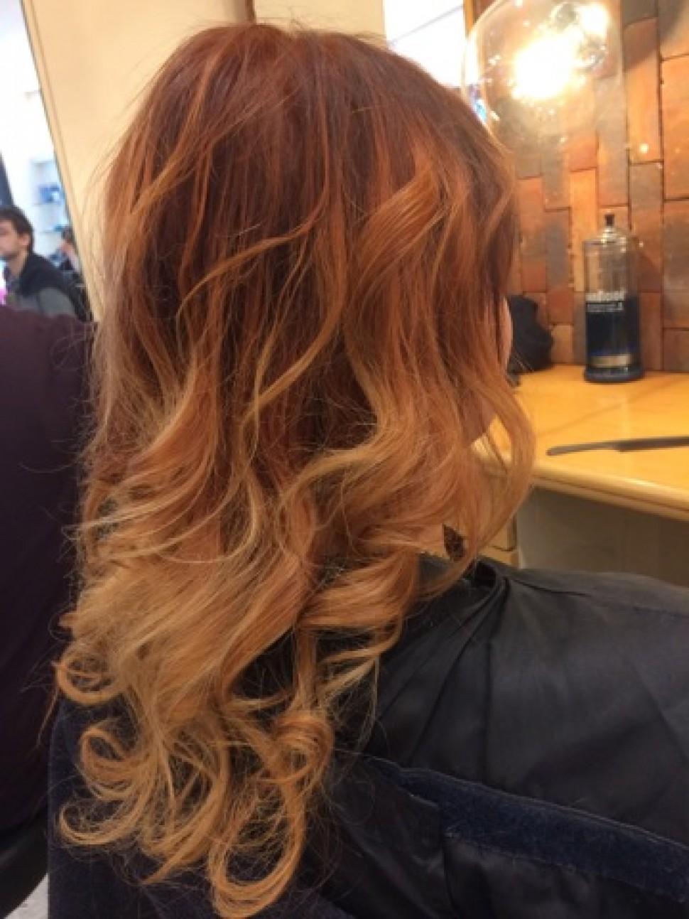 balayage miel sur cheveux chatain avant apres – coiffure de mariage
